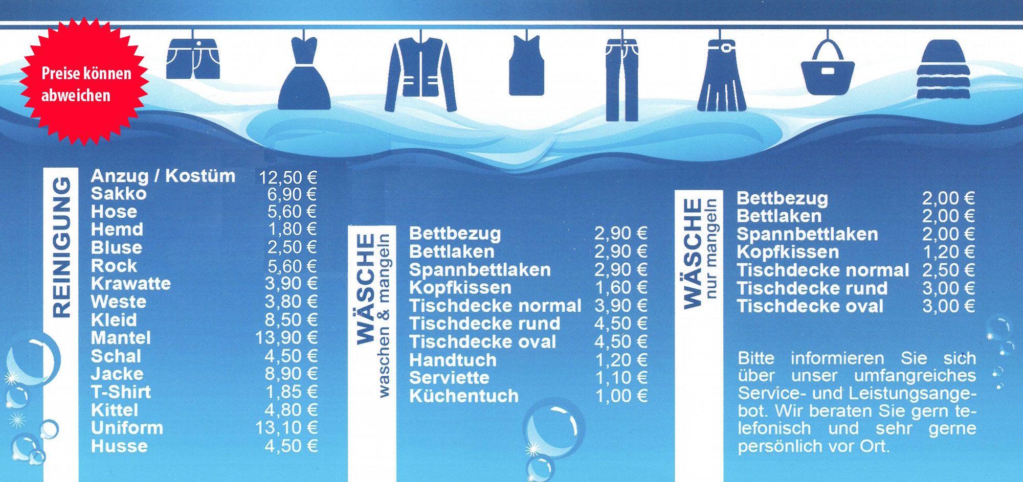 Leistungen Oceana Textilpflege In Bad Homburg